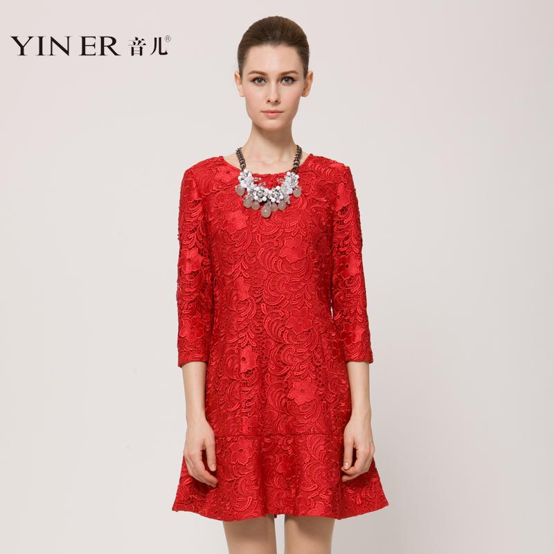 天猫独家发售YINER音儿2014夏季新款 蕾丝钩花优雅连衣裙84105236