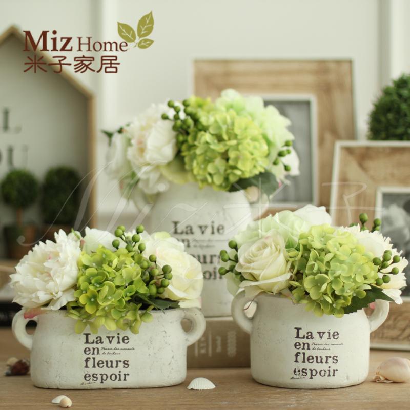 家居饰品仿真花套装假花客厅绢花装饰花绣球花陶盆整体花艺花瓶