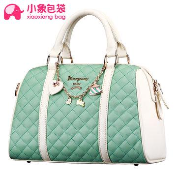小象包袋2014新款韓版撞色時尚女包漸變菱格包單肩手提包