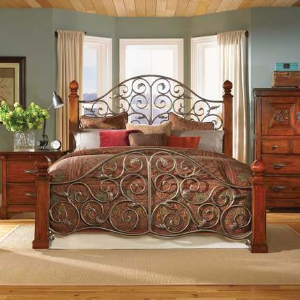 Buy european and japanese furniture wrought iron double for Wrought iron bedroom furniture