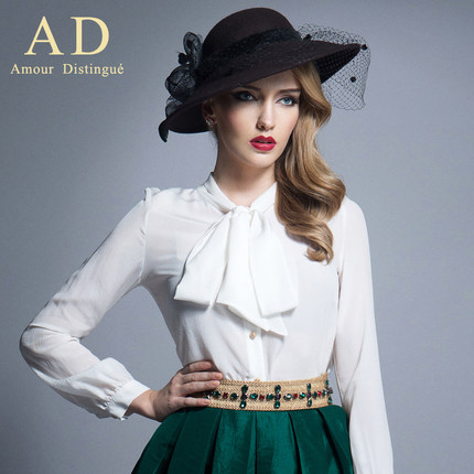 AD 2014 new high-end women's elegant temperament white shirt with long sleeves fashion bowknot silk shirt jacket