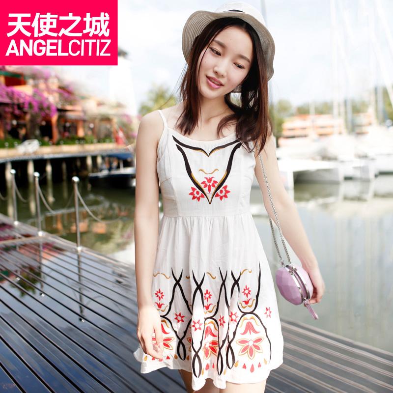 天使之城 2014夏装新款 抽褶绣花裙子修身吊带连衣裙