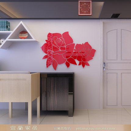 Ilan Acrylic 3D three-dimensional crystal entrance wall living room wall stickers creative stickers decorative backdrop Rose 082