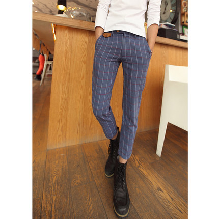 Korean version of the influx of summer new Slim British style casual plaid pants feet 9 points pantyhose child Men
