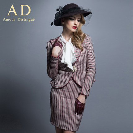 Europe and the United States 2014 AD high-end clothing women's fashion dress early autumn two-piece suit the new suit