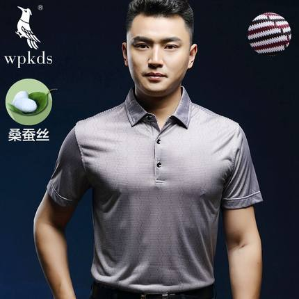 58df7355d5f7 Buy 100 silk short-sleeved T-shirt men Men 100% natural silk summer shirt  POLO shirt lapel middle-aged father in Cheap Price on m.alibaba.com