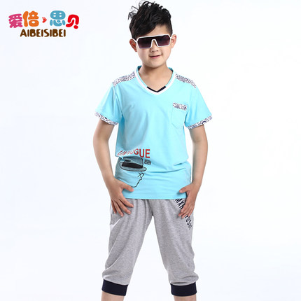 26d1e6023b89 Kids boys summer 2014 new short-sleeved shorts suit 10-12 -year-old boy boy  dress Teenager 13-15