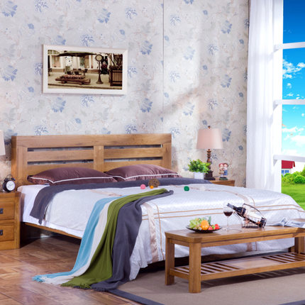 Wood bed double bed single bed 1.8 1.5 1 m oak furniture pine bed child bed 1.2 meters shipping
