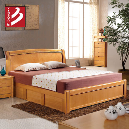 Buy bo whole heart beech wood bed double beds 1 5 m 1 8 m for Double bed with box design