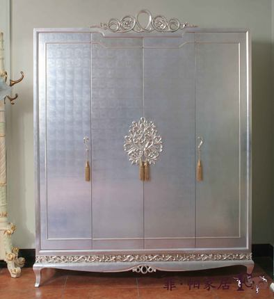 Buy Post Modern Neo Classical Pure Silver Paste Wood Carving Master Bedroom Furniture European And American Silver And Black Four Bedroom Wardrobe In Cheap Price On Alibaba Com