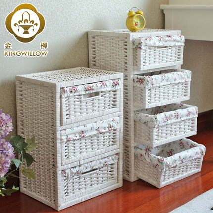 Kim Yoo Household Clothes Storage Cabinets Drawer Storage Cabinets Lockers  Baby Child Rattan Wicker Wardrobe Finishing