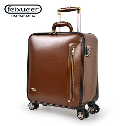 Buy Philippine Cher brown leather suitcase Trolley Wheels boarding ...