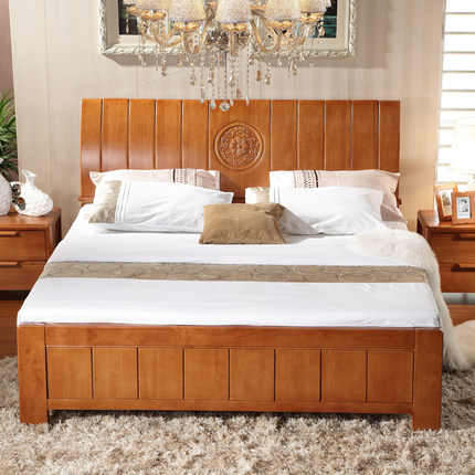 Buy shumei brand furniture wood skin double bed for Wooden box bed image