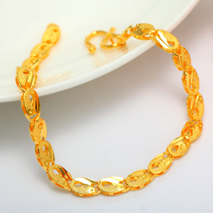 Ya Li Jewelry 24k Gold Bracelet Female 999 Pure Goldfish Chain Hollow Crude Genuine
