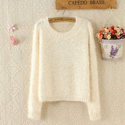 2014 fall and winter clothes new European leg of European and American solid round neck pullover mohair sweater female short paragraph