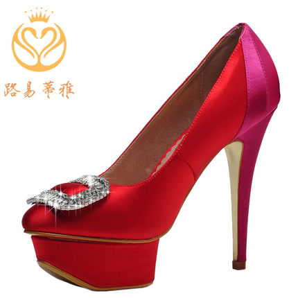 2014 new high-heeled satin bridal wedding shoes small yards spell color single shoes rhinestone square buckle catwalk fashion shoes red shoes