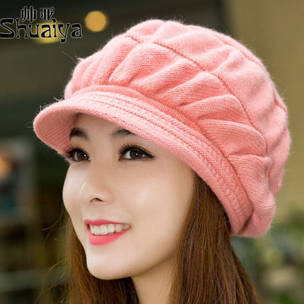 ae809268e95 Get Quotations · Asian handsome hat female Korean autumn and winter wool hat  female winter rabbit fur hat knitted