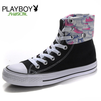 Playboy 2014 new high-top canvas shoes, ladies shoes student shoes Korean tide casual flat shoes child