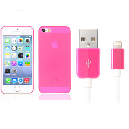 Snowkids Kit ( thin pink shell + MFi certification data cable ) applies iPhone5S / 5