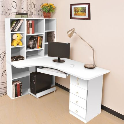 Simple desktop computer desk corner desk combination bookcase bookcase desk desktop modern home office desk