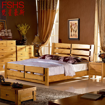 FSHS all- solid wood double bed 1.8 1.5 m high simple storage box drawer bed & Buy FSHS all- solid wood double bed 1.8 1.5 m high simple storage ...