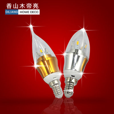 LED Candle Light E14 screw pull taillight light source illuminating the crystal factory direct cheap silver and gold patch