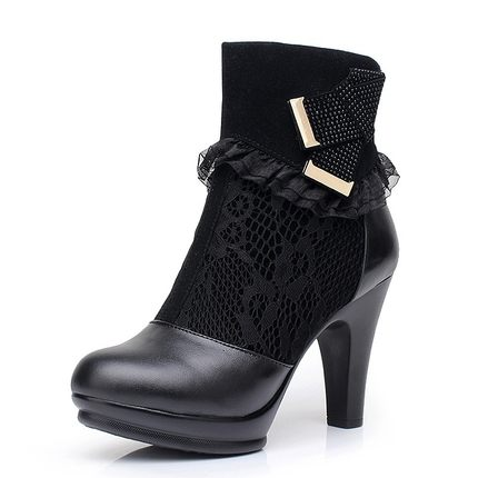 2014 new autumn and winter high-heeled leather boots thick with heavy-bottomed female female cotton-padded lace boots cotton boots small yards