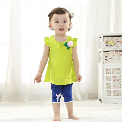 Buy New Korean female baby girls summer clothes suit