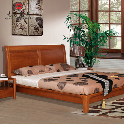 Simple Bright Red Oak Bedroom Furniture Imports 1 8 Meters Of Modern Chinese Solid Wood Double Bed