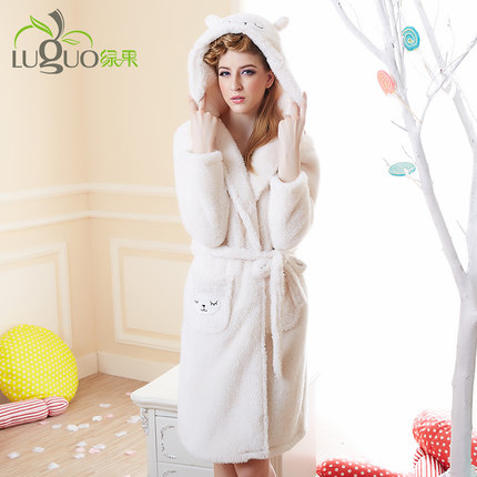 164f75600a Autumn and winter coral velvet pajamas women hooded robe thick long-sleeved flannel  bathrobe cartoon