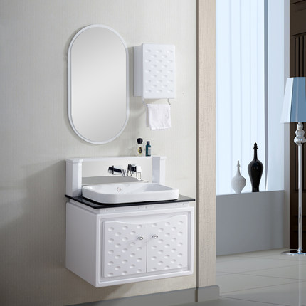 Dian Xin European Pvc Bathroom Cabinet Combination To Wash Hands Basin Ceramic