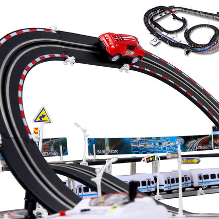 Large Electric Train Track Car Toy Racing Carrera Road Style Roller Coaster