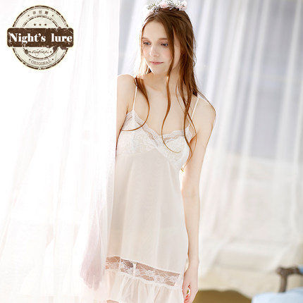 Naisi dew summer and the new sexy lace stitching chiffon flounced temptation to sling Lingerie pajamas tracksuit