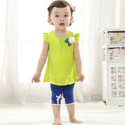 Buy New Korean female baby girls summer clothes summer sack suit ...
