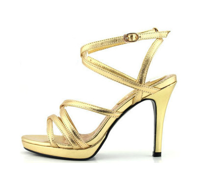 Rui Yin Jiao golden peppers nude color sheepskin Korean version of the model wedding shoes sandals high with big yards small yards