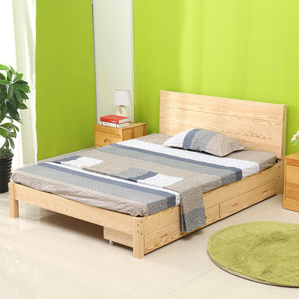 Buy Simple and modern wood bed double bed pine single bed tatami