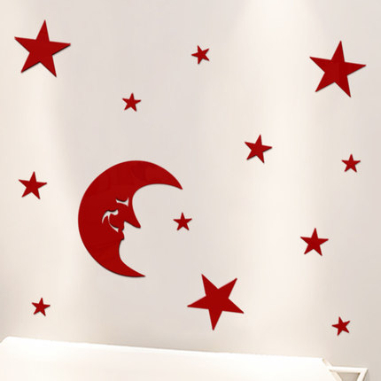 Ya 1-3d territory three-dimensional crystal mirror wall stickers cartoon bedroom wall decor lovely bedside moon and the stars