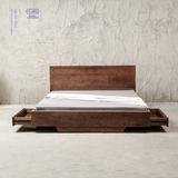 北欧实木床黑胡桃木 榻榻米床抽屉气压箱体储物床橡木1.8米双人床
